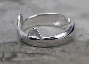 Silver Plated Cat Ear Ring - Hello Moa