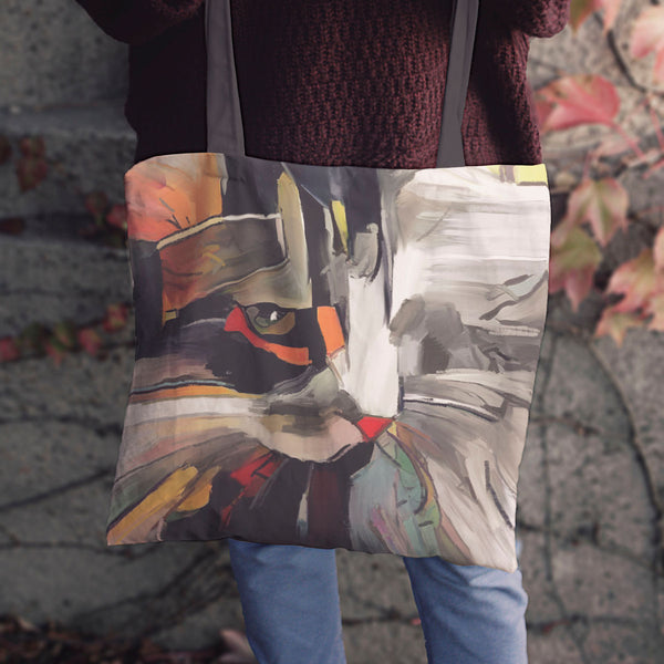 Cat Art Cloth Tote Bags
