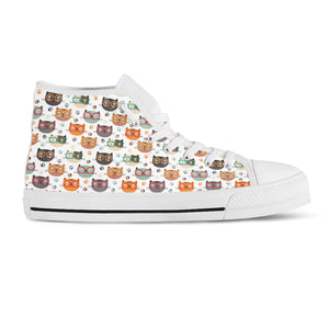 Cats With Glasses Canvas Shoes - Hello Moa