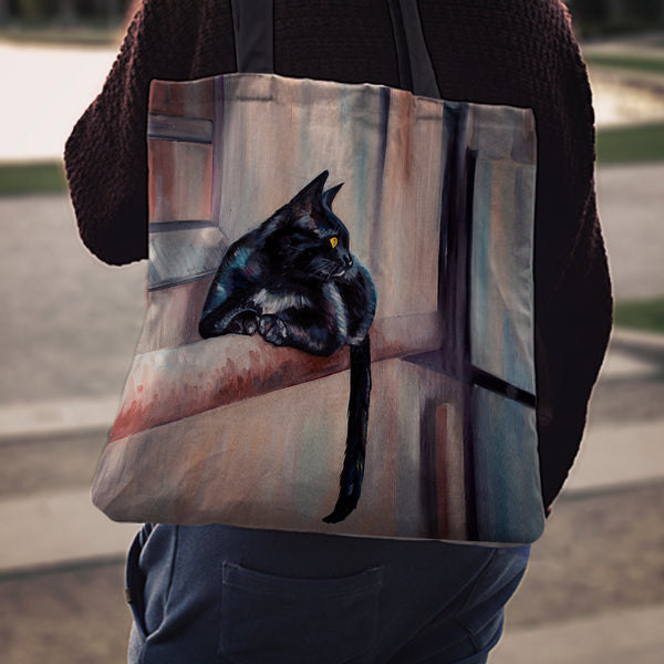Cat On Ledge Cloth Tote Bag