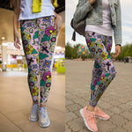 Sugar Skull Cross Leggings - Hello Moa