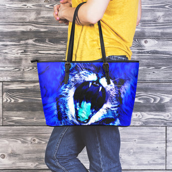 Blue Wild Cat Leather Tote Bag
