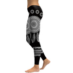Black Feather Mandala Leggings - Hello Moa