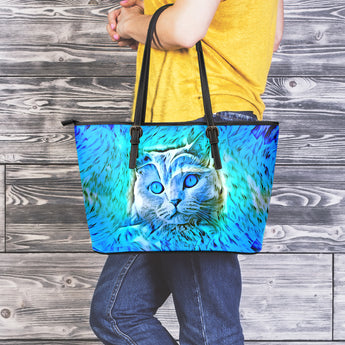Blue Cat II Leather Tote Bag