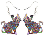 Floral Cat Kitten Earrings - Hello Moa