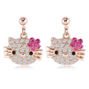 Cat Flower Stud Earring