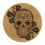 Sugar Skull Droplet Cork Drink Coaster
