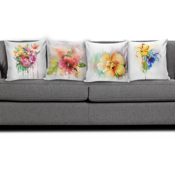 Watercolor Flower Pillow Covers