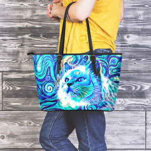 Blue Cat III Leather Tote Bag - Hello Moa