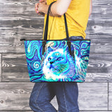 Blue Cat III Leather Tote Bag