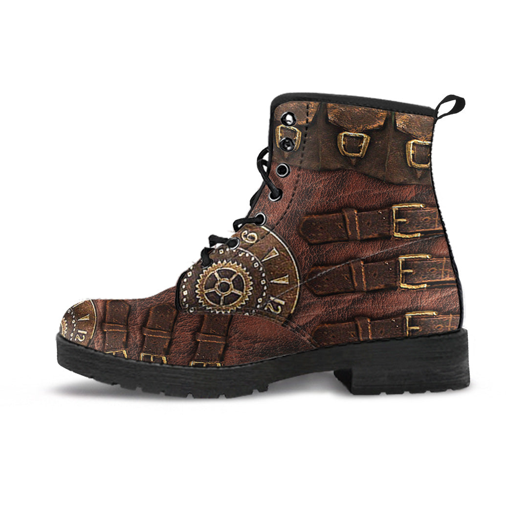 Brown Buckled Steampunk Boots - Hello Moa