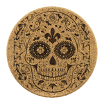 Sugar Skull Cork Drink Coasters