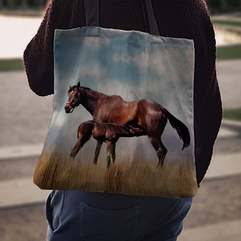 Horse & Foal Cloth Tote Bag