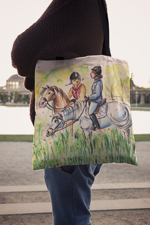 Two Riders Horse Cloth Tote Bag
