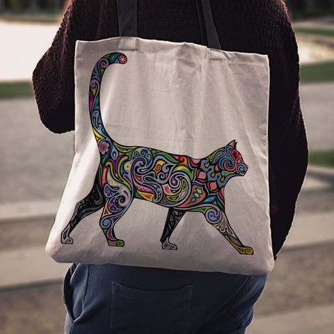 Image of Floral Cat Cloth Tote Bag
