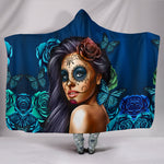 Blue Calavera Hooded Blanket