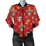 Skull Guitar Womens Bomber Jacket