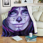 Purple Sugar Skull Throw Blanket - Hello Moa
