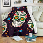Yellow Eye Sugar Skull Throw Blanket - Hello Moa