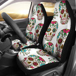 White Sugar Skull Car Seat Covers - Hello Moa