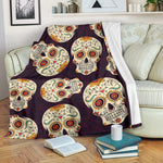 Sugar Skull Throw Blanket