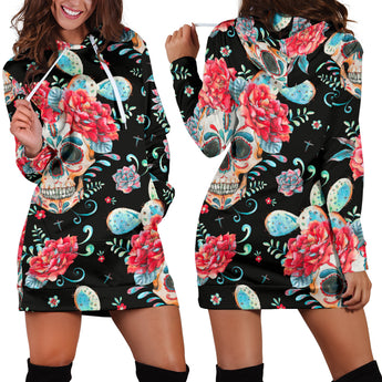 Black & Red Skull Women's Hoodie Dress