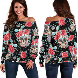 Black Flower Skull Off Shoulder Hoodie - Hello Moa