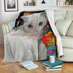 White Cat Blanket - Hello Moa
