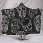 Black Sugar Skull Hooded Blanket - Hello Moa