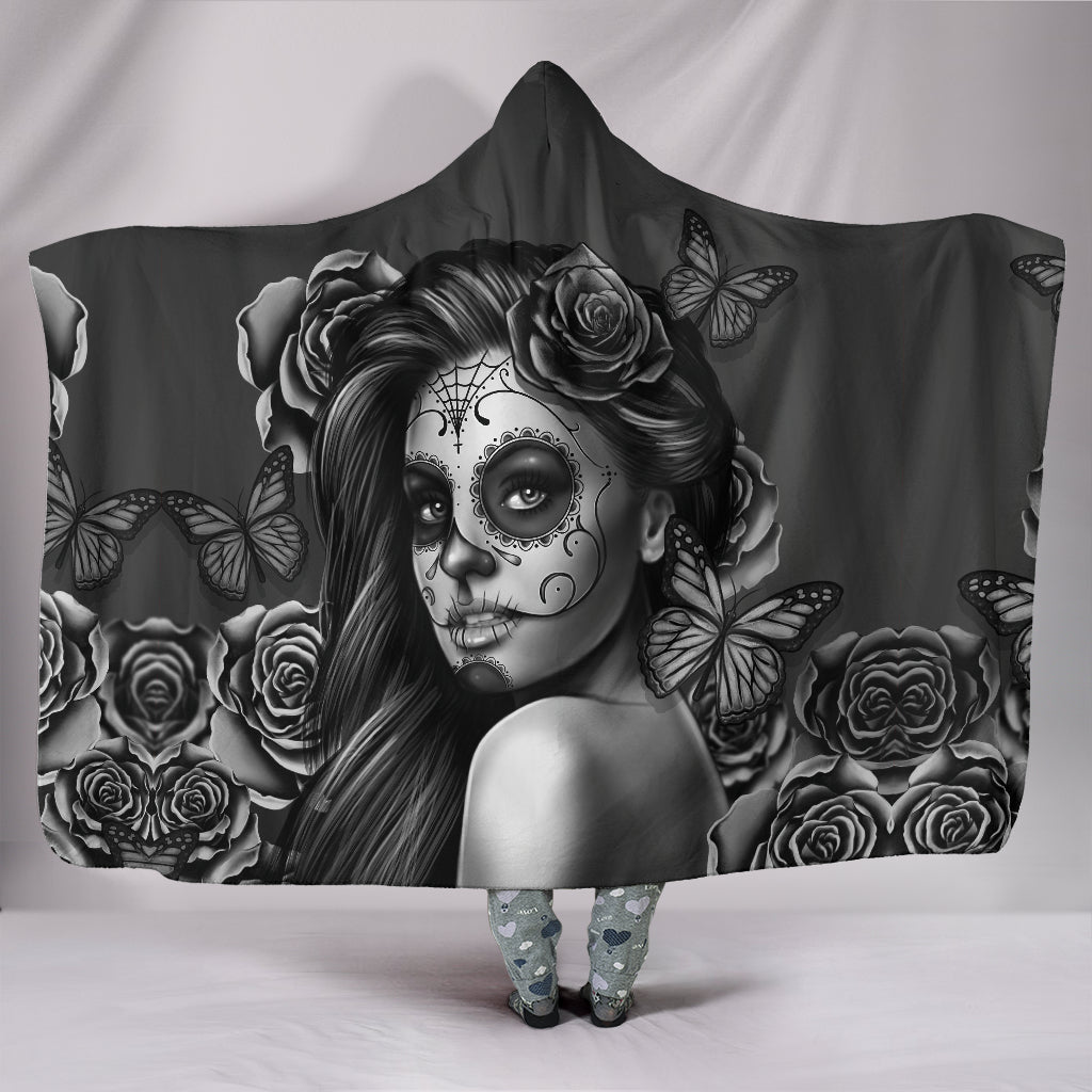 B&W Calavera Hooded Blanket