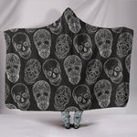 Black Sugar Skull II Hooded Blanket - Hello Moa