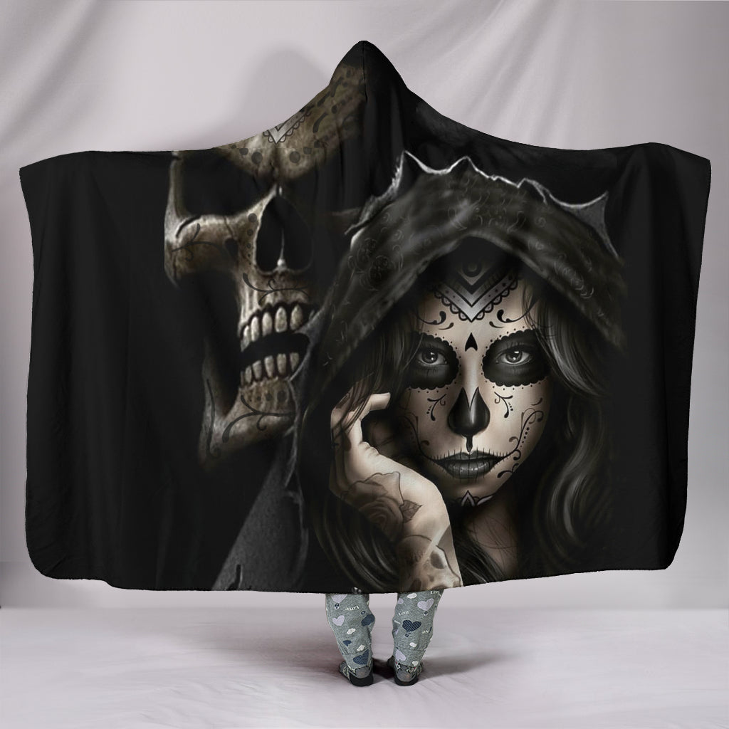 Hidden Skull Hooded Blanket