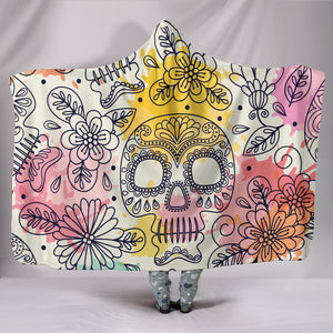 Pastel Sugar Skull II Hooded Blanket - Hello Moa