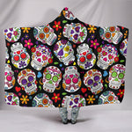 Multi-Colored Sugar Skull II Hooded Blanket - Hello Moa