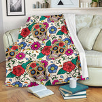 Flower Sugar Skull Throw Blanket - Hello Moa