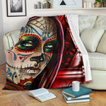 Red Sugar Skull Blanket - Hello Moa