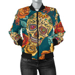 Green Sugar Skull Women's Bomber Jacket