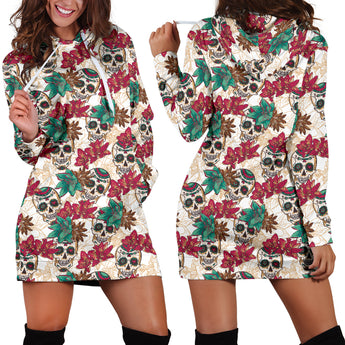 Red & Green Flower Skull Women's Hoodie Dress