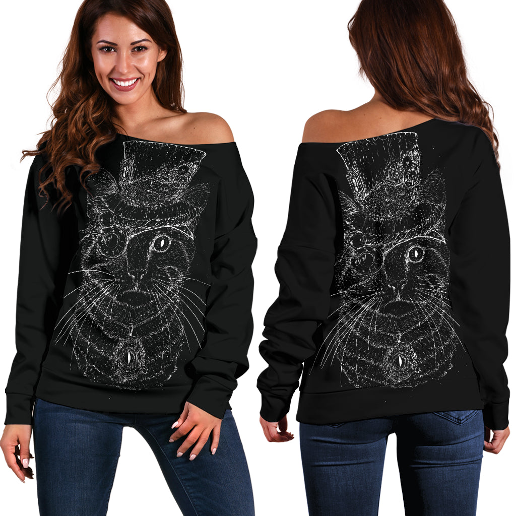 Steampunk Cat Off Shoulder Hoodie
