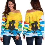Sunset Cat Off Shoulder Hoodie - Hello Moa