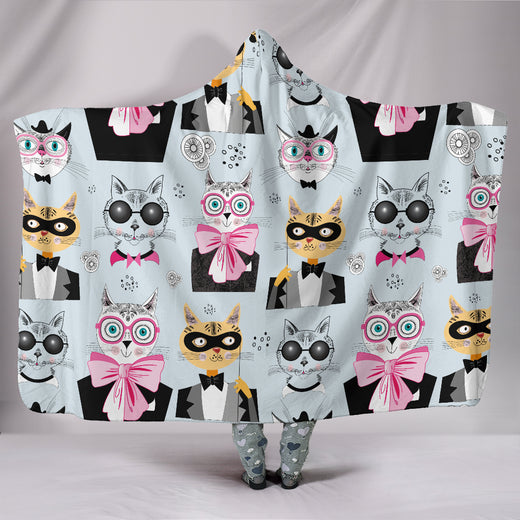 Comic Cat II Hooded Blanket