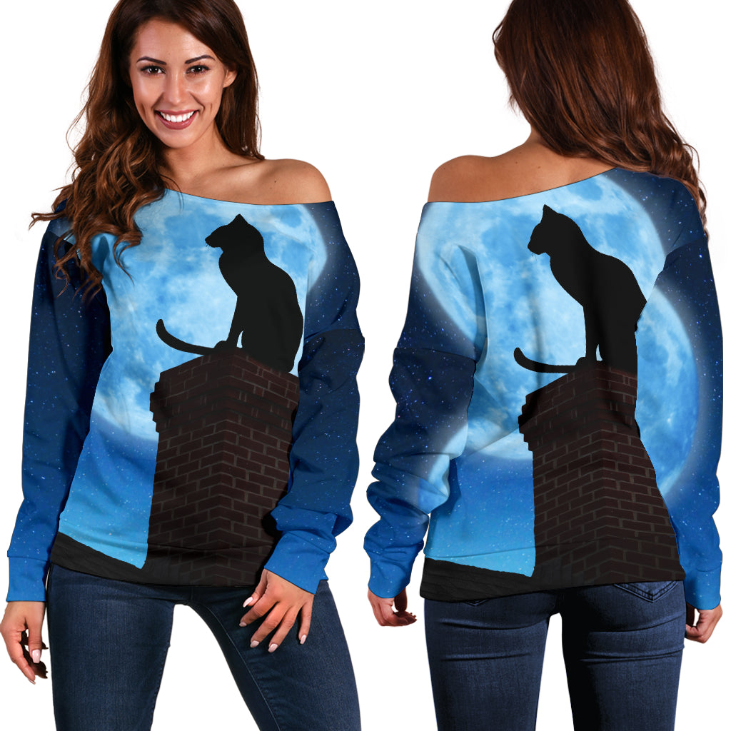 Cat & Moon Off Shoulder Hoodie - Hello Moa