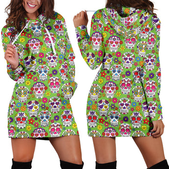 Lime Sugar Skulls Women's Hoodie Dress