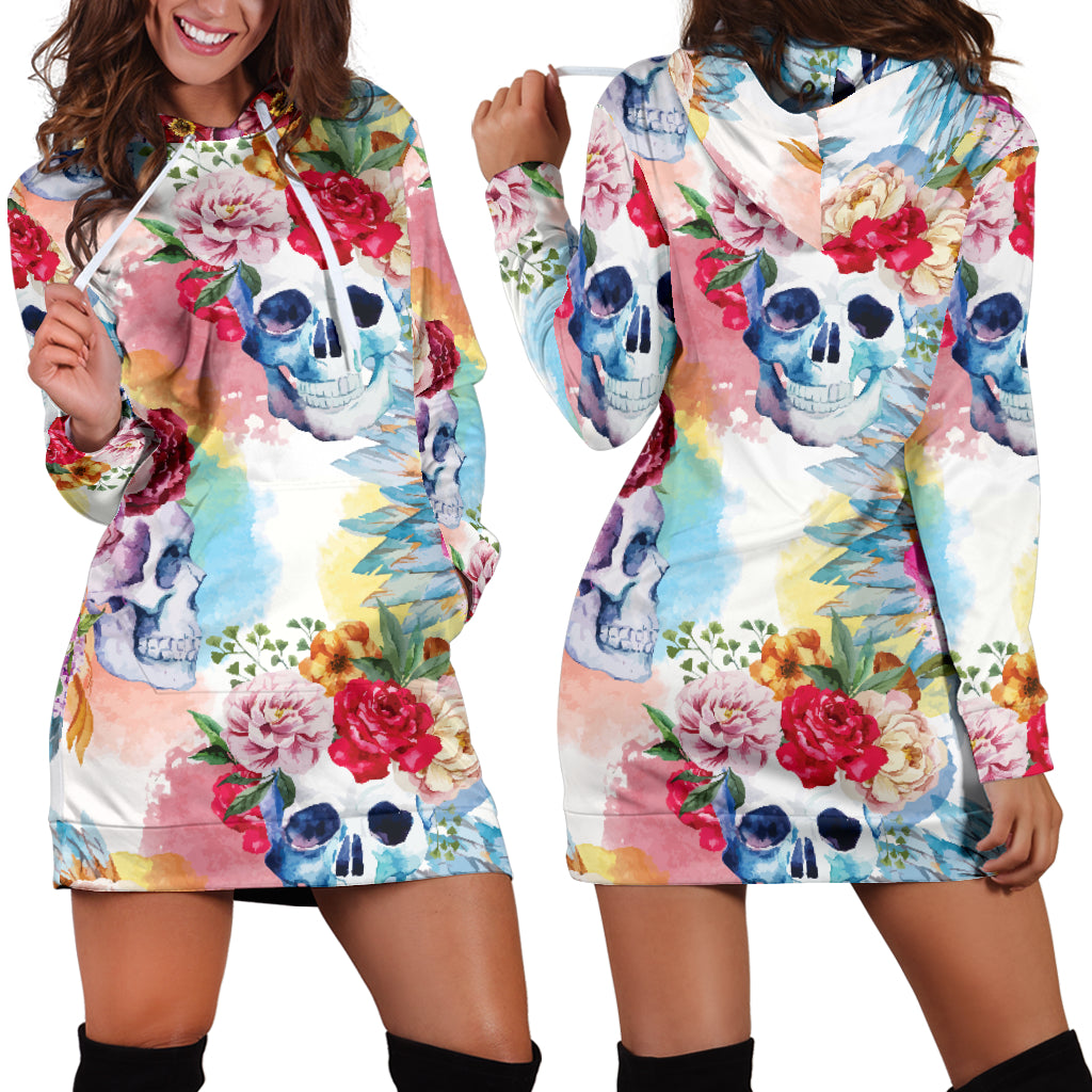 Flower Skull Women's Hoodie Dress