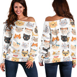 Cat Faces Off Shoulder Hoodie - Hello Moa