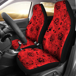 Red & Black Sugar Skull Car Seat Covers