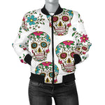 White Sugar Skull Women's Bomber Jacket - Hello Moa