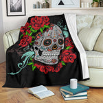Red Flower Sugar Skull Throw Blanket - Hello Moa