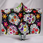 Multi-Colored Sugar Skull Hooded Blanket