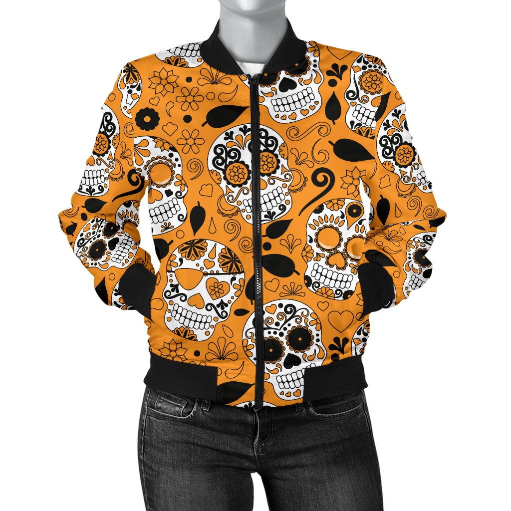 Orange Sugar Skull Women's Bomber Jacket - Hello Moa